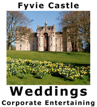 Weddings at Fyvie Castle: Fyvie Castle is a fairytale venue for civil, religious and humanist wedding ceremonies. Adorned with masterpieces by Raeburn, Gainsborough and Batoni, the castle's exquisite Gallery and interconnecting Drawing Room provide a glorious setting for drinks receptions, ceremonies and dinners. From the castle, a short stroll through the grounds leads to the Racquets Court, a glass-roofed pavilion with a sprung dance floor, perfect for ceilidhs and evening receptions. For larger wedding receptions, a marquee can be erected on the South Lawn, with the castle providing a spectacular backdrop. Corporate: Fyvie Castle is an elegant and stylish setting for both intimate and large-scale corporate events and entertaining. A sophisticated venue for gala dinners and champagne receptions, the castle and glass-roofed Racquets Court are also ideal for recitals, concerts and conferences. For maximum versatility, marquees can be erected in the grounds.